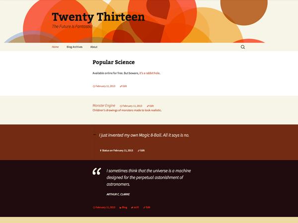 TwentyThirteen — Default WordPress Theme