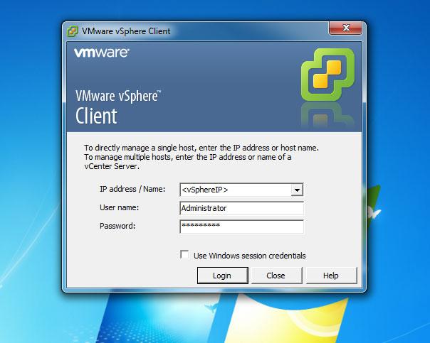 How to login to VMware vSphere