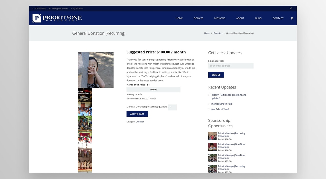 Priority One Worldwide donation page
