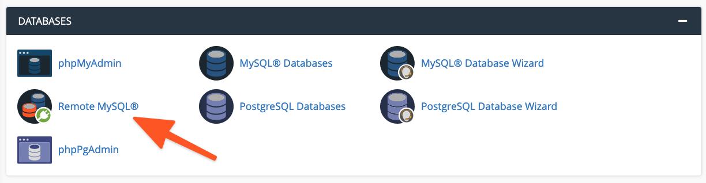 cPanel Menu Remote MySQL