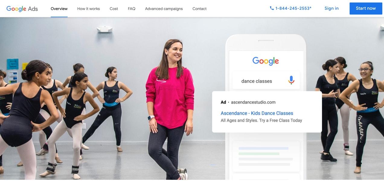 Google ads landing page