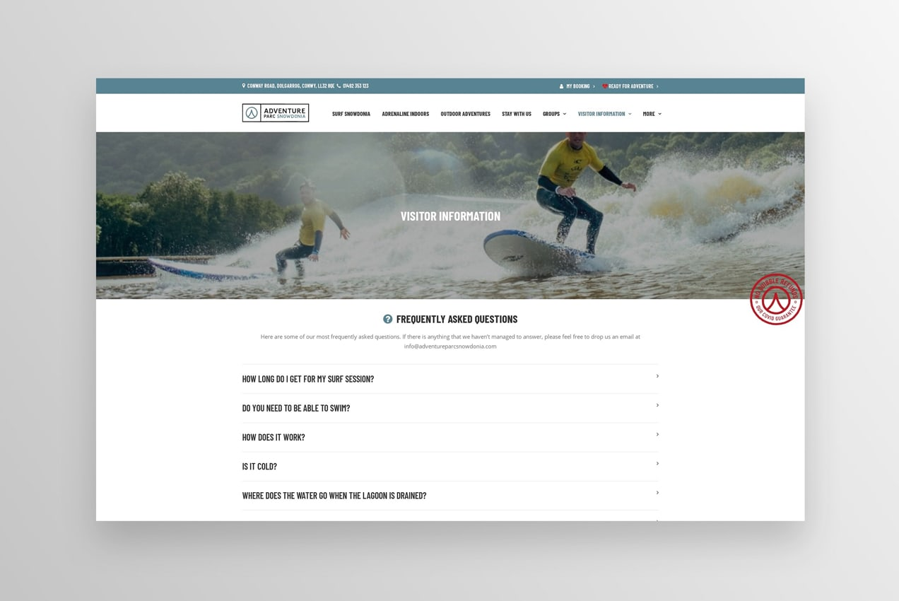 FAQ page on the site of Adventure Parc Snowdonia