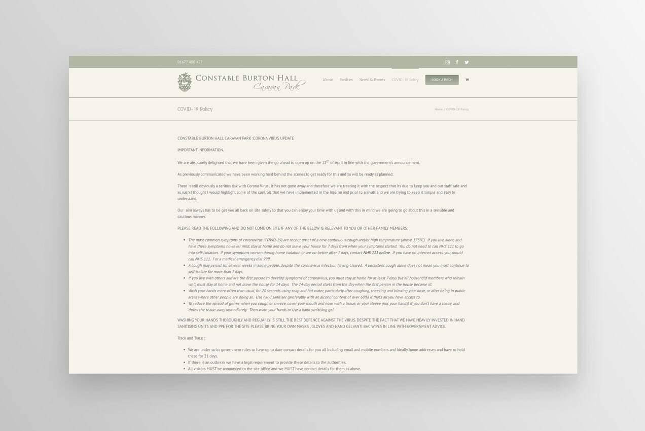 Constable Burton Hall's COVID-19 policy page