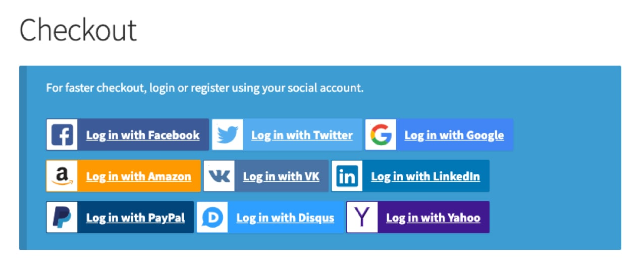 social login options available at checkout