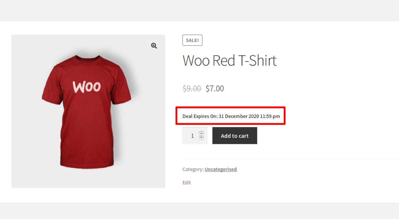 using time-based urgency to encourage sales on a product page
