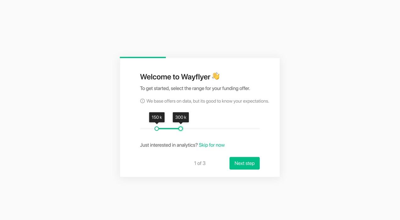 wayflyer welcome screen in WooCommerce