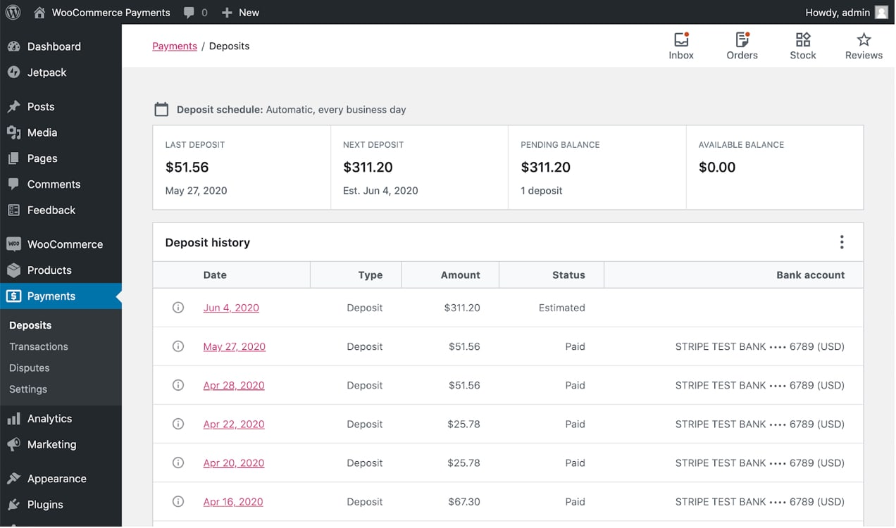 screenshot of WooCommerce Payments dashboard