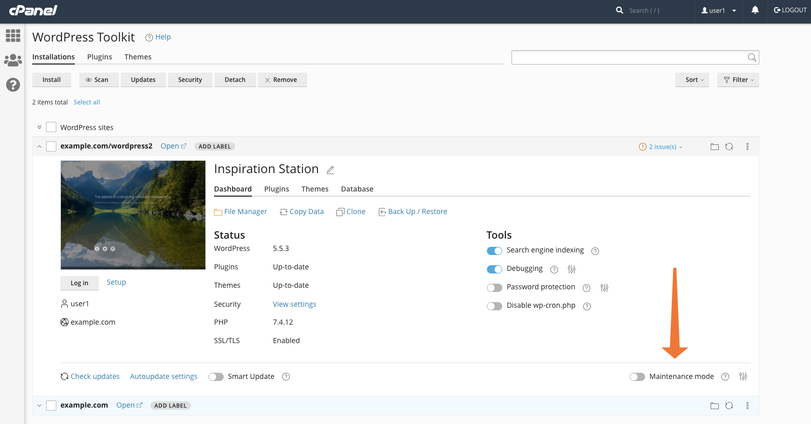 WordPress Toolkit for cPanel maintenance Mode