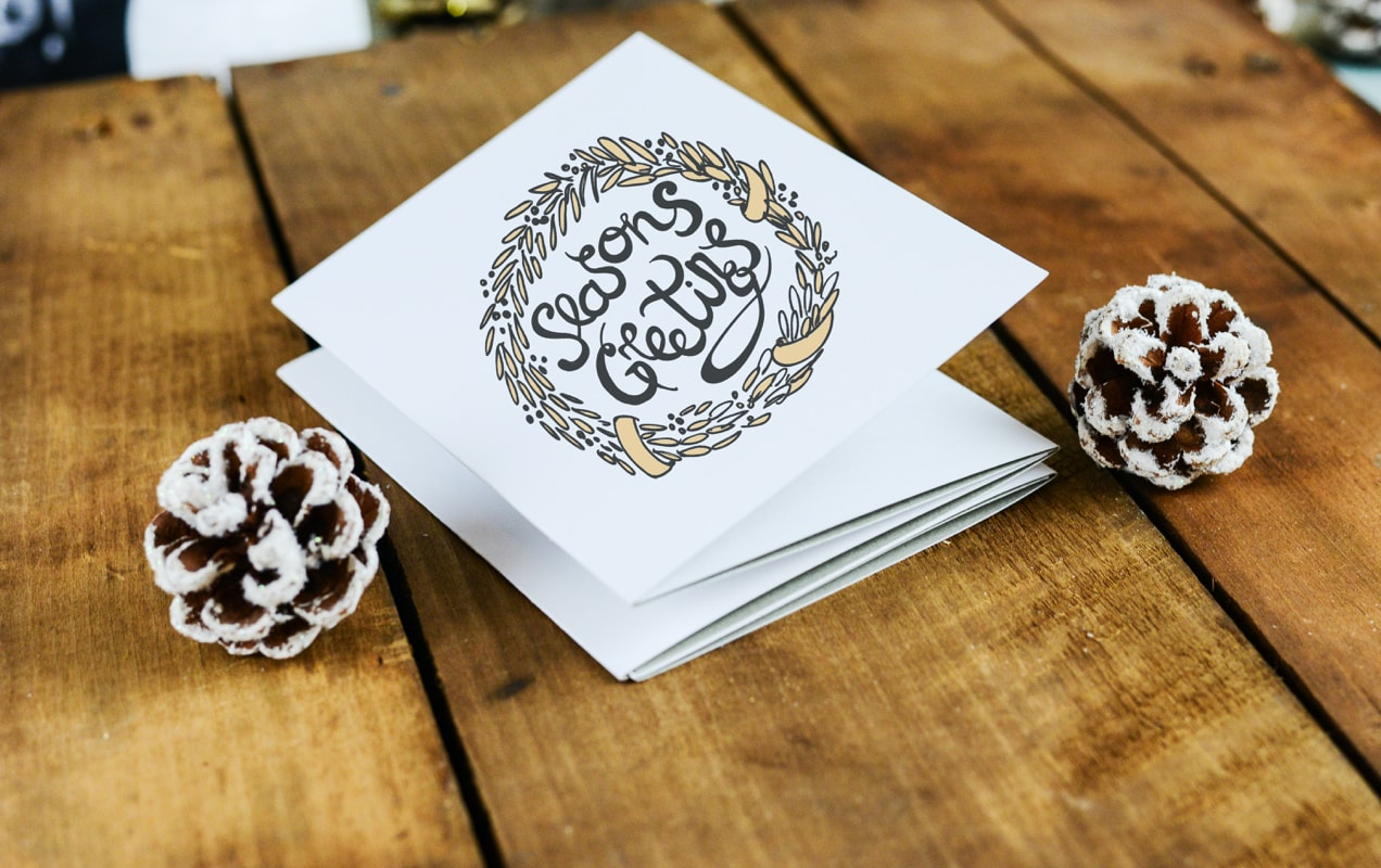holiday card on a table