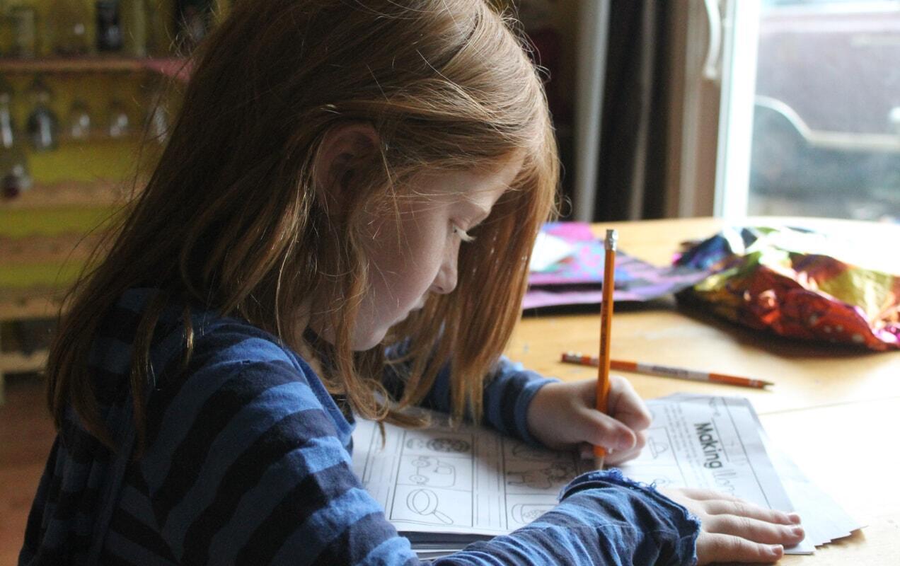 elementary student working on homework