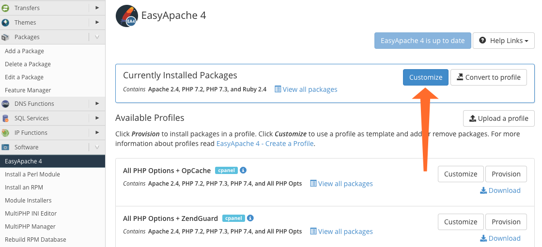 Easy Apache Customize