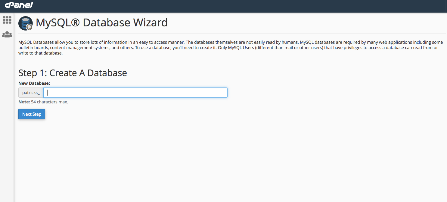 This image shows the MySQL Database Wizard